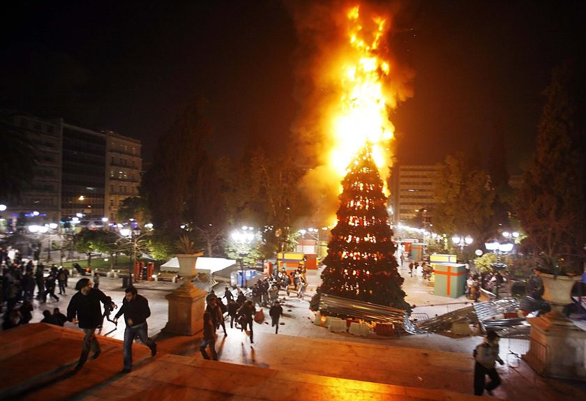 Atheists Escalate The War On Christmas Set Fire To Times Square  - Christmas Trees On Fire